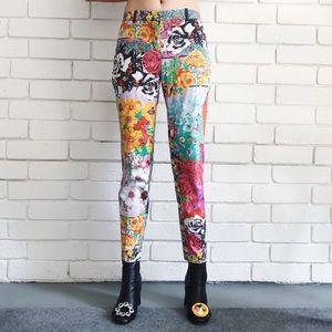 Versace vintage floral skinny jeans